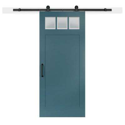 36 in. x 84 in. Pacific Craftsman 3-Lite Clear  Solid-Core MDF Barn Door with Sliding Door Hardware Kit