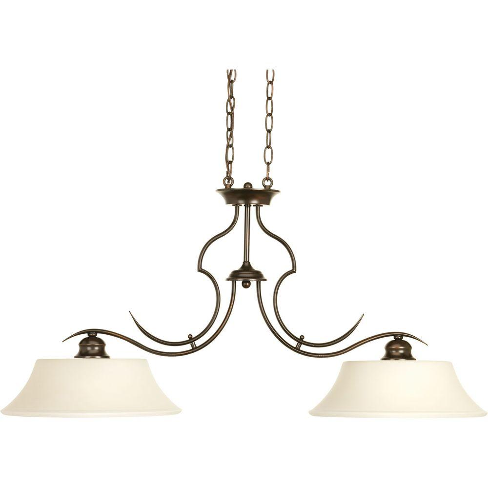 Applause Collection 2-Light Antique Bronze Chandelier with Shade with Etched