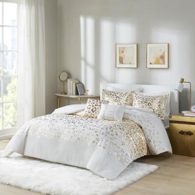 Serena 5-Piece Ivory/Gold Full/Queen Metallic Animal Printed Duvet Cover Set