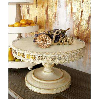 16 in. W x 9 in. H Whitewashed and Rust Brown Round Iron Cake Stand with Floral Bunting Overhang