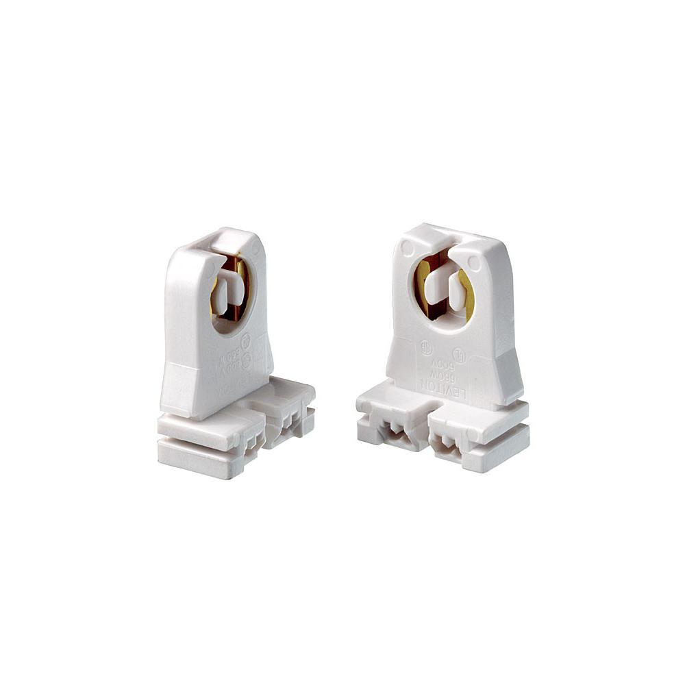 660W Medium G13 Base Bi-Pin Low Profile Slide-On Turn-Type Linear Fluorescent Lampholder, White