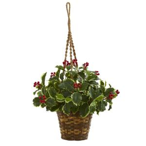 Indoor 26 Variegated Holly Artificial Plant in Hanging Basket