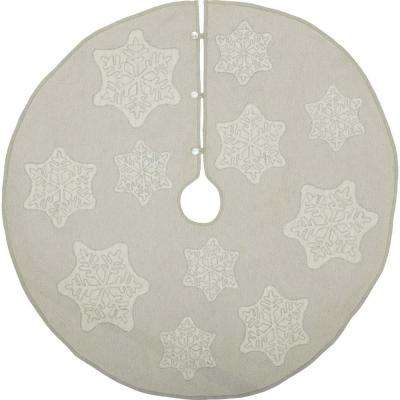 48 in. Ingrid Ash Grey Farmhouse Christmas Decor Tree Skirt