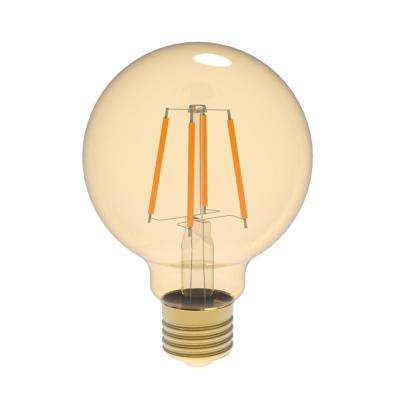 60W Equivalent Warm White (2400K) G25 Dimmable Amber LED Light Bulb
