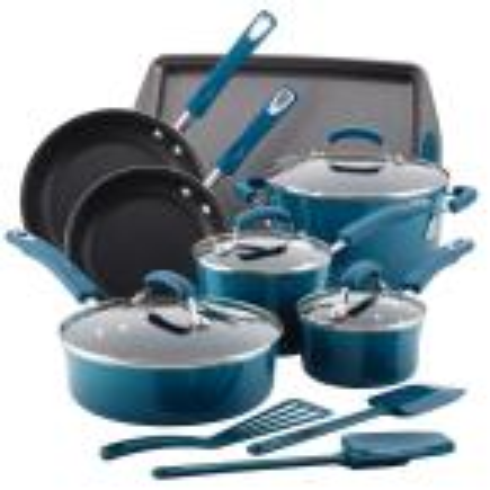 14-Piece Marine Blue Cookware Set with Lids