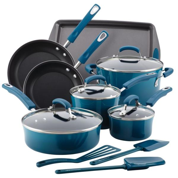 Rachael Ray 14-Piece Marine Blue Cookware Set With Lids