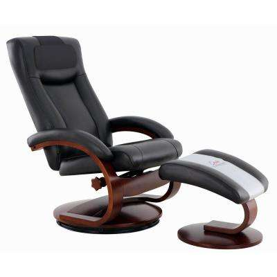 Oslo Collection Hamar Black Top Grain Leather Recliner with Ottoman and Cervical Pillow