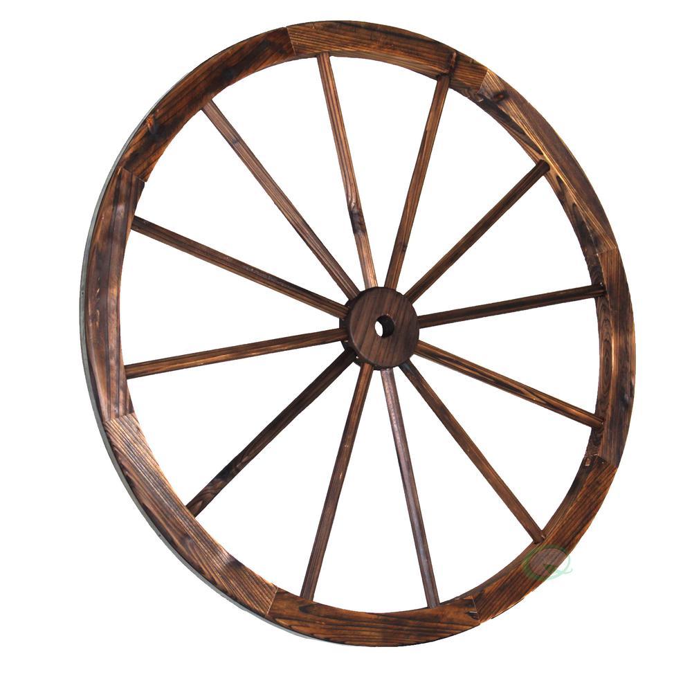 35 in. x 1.4 in. Decorative Antique Brown Wagon Garden Wheel