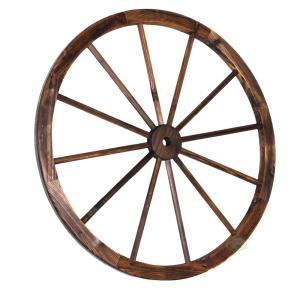Vintiquewise 35 inch x 1.4 inch Decorative Antique Brown Wagon Garden Wheel by Vintiquewise