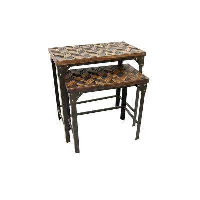 Brown Wood / Metal Tables (Set of 2)