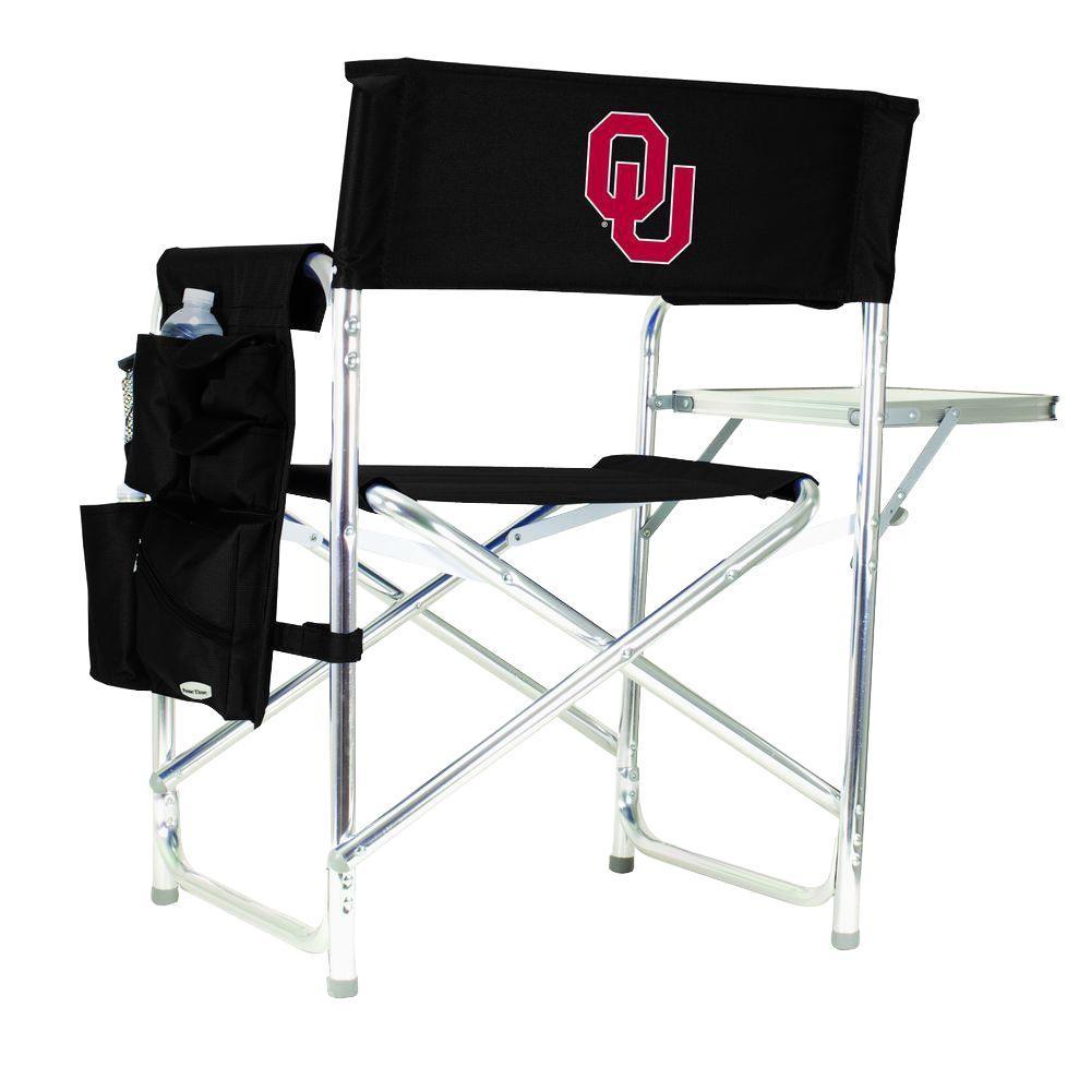 Picnic Time University of Oklahoma Black Sports Chair with Digital Logo