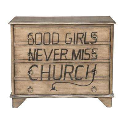 Traditional Styled Distressed Birch Four Drawer Accent Storage Chest with Eric Church Lyrics
