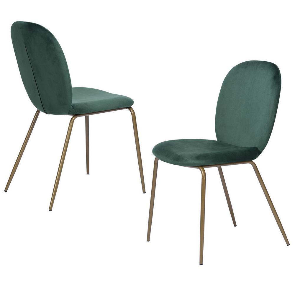 FurnitureR Jule Green Velvet Cover Elegant Dining Chairs (Set of 2) was $233.99 now $145.07 (38.0% off)
