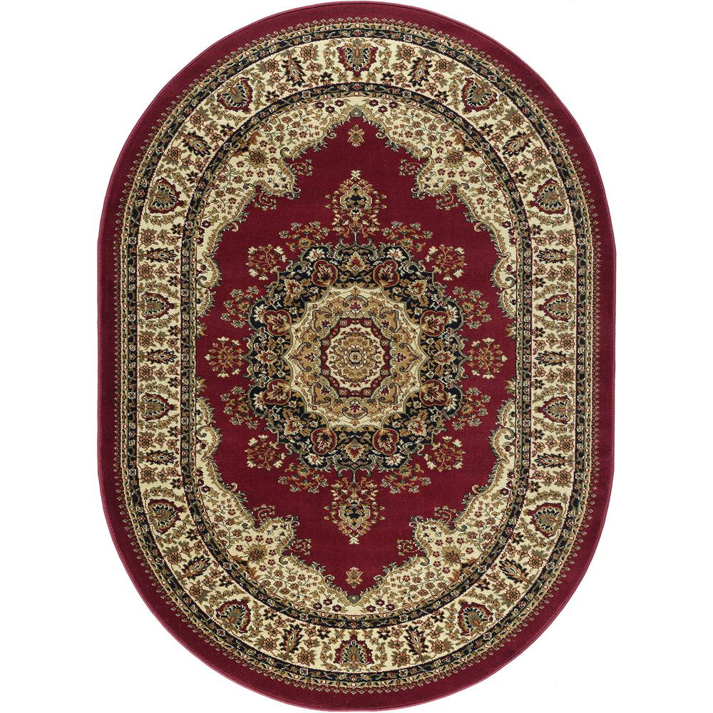 Traditional Area Rugs: Tayse Rugs Sensation Red 5 Ft. X 7 Ft. Traditional Oval