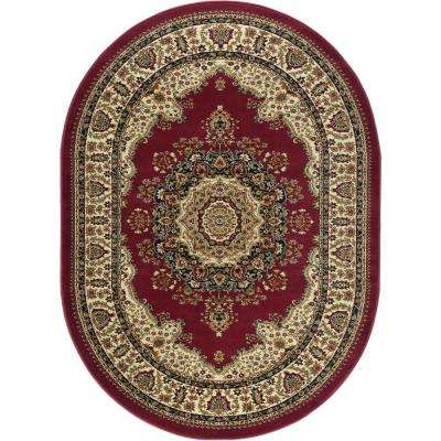 Sensation Red 5 ft. x 7 ft. Traditional Oval Area Rug