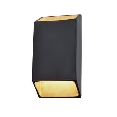 Ambiance Tapered Rectangle 24-Watt Carbon Matte Black Integrated LED Sconce with Champagne Gold Internal