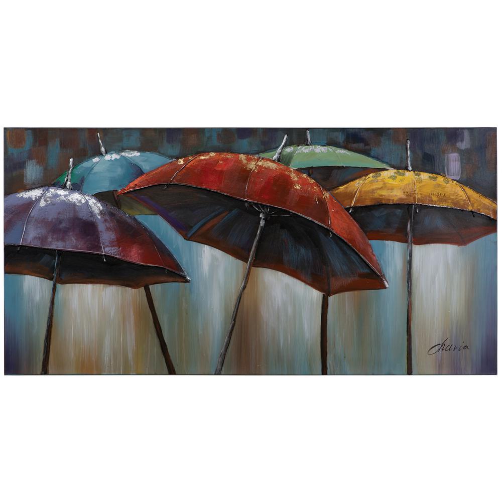 "28 in. x 55 in. ""Umbrellas"" Hand Painted Contemporary Artwork"