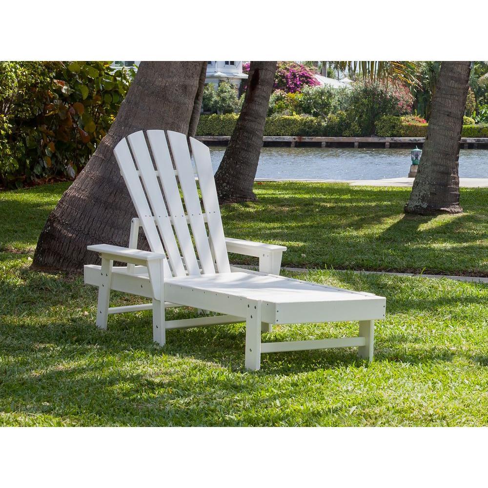 South Beach White Patio Chaise Lounge