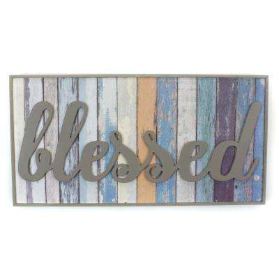 "20.5 In. W x 10.5 In. H ""Blessed"" by KDM Framed Printed Wall Art"