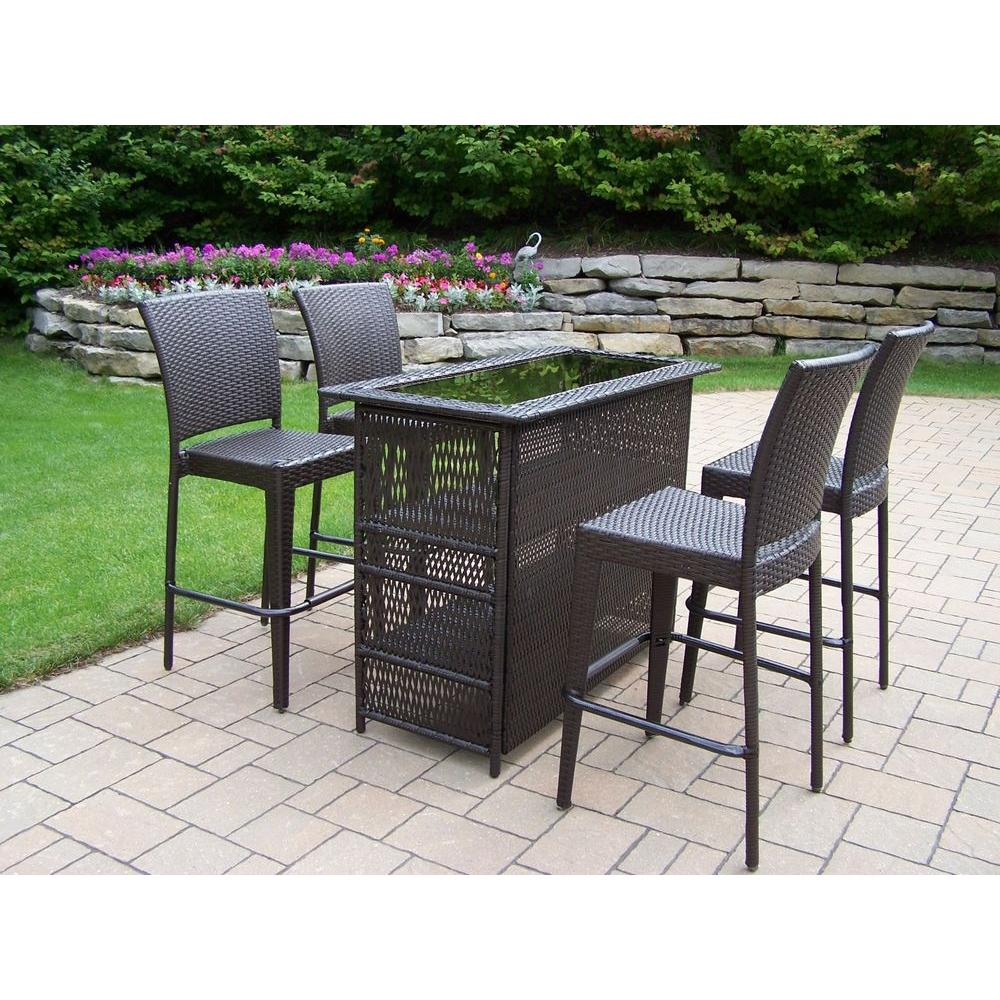 Beautiful Oakland Living Elite Resin Wicker 5 Piece Patio Bar Set