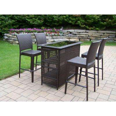 Elite Resin Wicker 5-Piece Patio Bar Set
