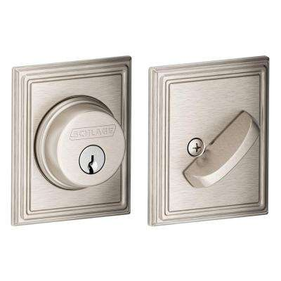 Single Cylinder Satin Nickel Deadbolt with Addison Trim