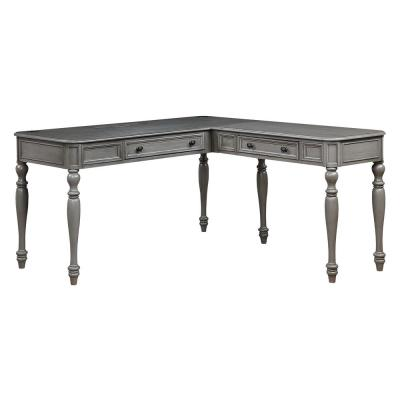 60 in. L-Shaped Gray 2 Drawer Computer Desk with Solid Wood Material