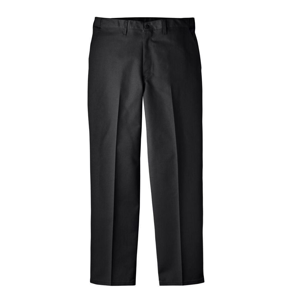 Regular Fit 30 in. x 30 in. Blended Flat Front Comfort Waist Multi-Use Pocket Pant Black
