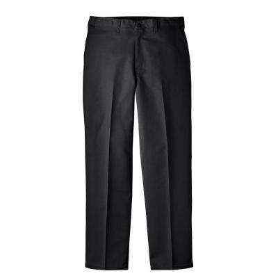 Regular Fit 34 in. x 32 in. Polyester Flat Front Comfort Waist Multi-Use Pocket Pant Black