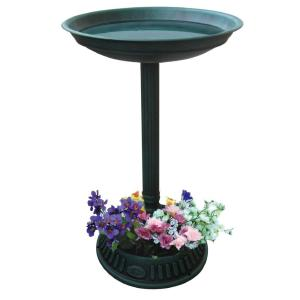Alpine 25 inch Birdbath with Planter Pedestal in Green by Alpine