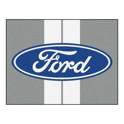 Ford Oval with Stripes Gray 3 ft. x 3 ft. 6 in. Indoor Accent Rug