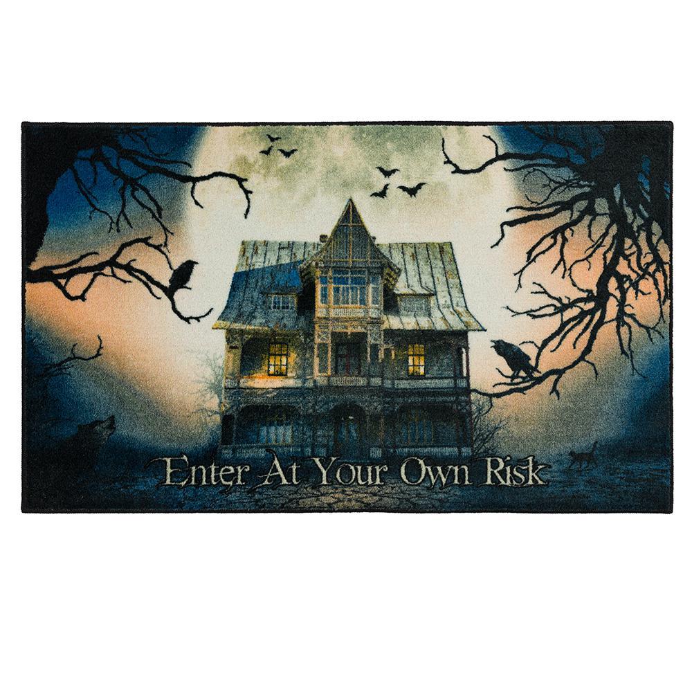 Mohawk Home Spooky Enter Gray 2 ft. 6 in. x 4 ft. 2 in. Halloween Indoor Area Rug, Blue/ Gray/ Green/ Black/ Cream