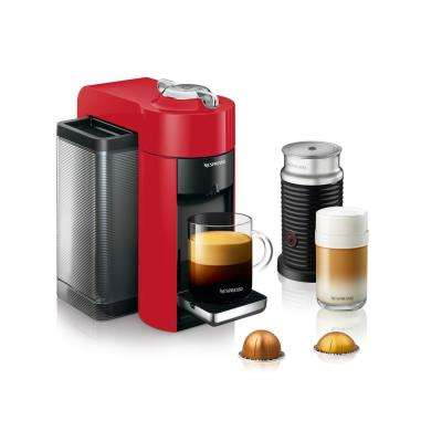 Vertuo Single Serve Coffee and Espresso Machine by De'Longhi with Aeroccino in Red