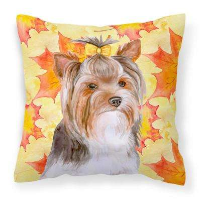 14 in. x 14 in. Multi-Color Lumbar Outdoor Throw Pillow Yorkshire Terrier #2 Fall