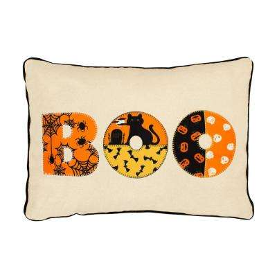 Boo Embroidred Halloween 14 in. x 20 in. Pillow