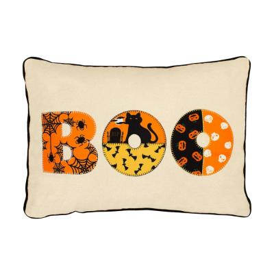 Boo Embroidered Halloween Polyester Standard Throw Pillow