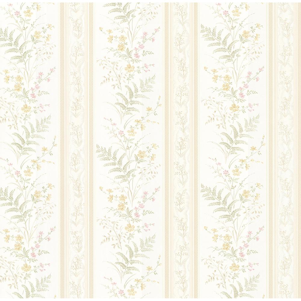 Brewster 56 4 Sq Ft Bell Blue Wildflower Stripe Wallpaper 347