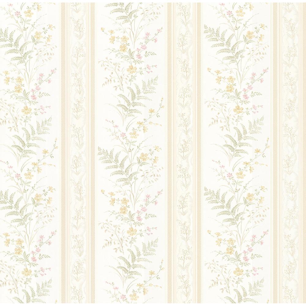 56.4 sq. ft. Bell Beige Wildflower Stripe Wallpaper
