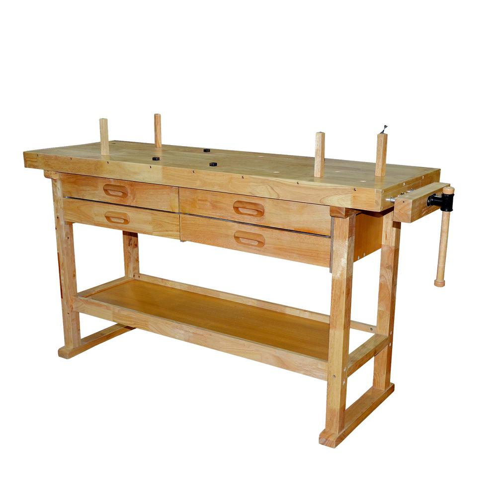 steel core 60 in. x 20 in. 250 lbs. hardwood workbench with built-in  storage draws and 7 in. wooden vise