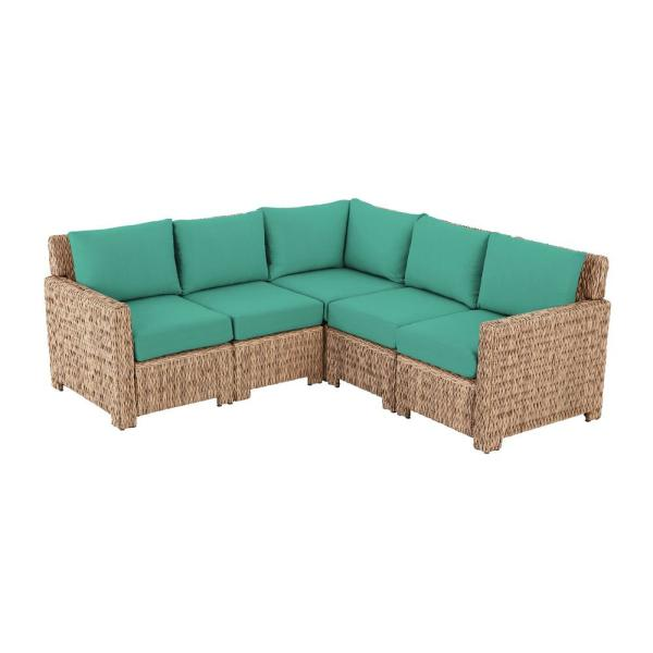Laguna Point 5-Piece Natural Tan Wicker Outdoor Patio Sectional Sofa with CushionGuard Seaglass Turquoise Cushions