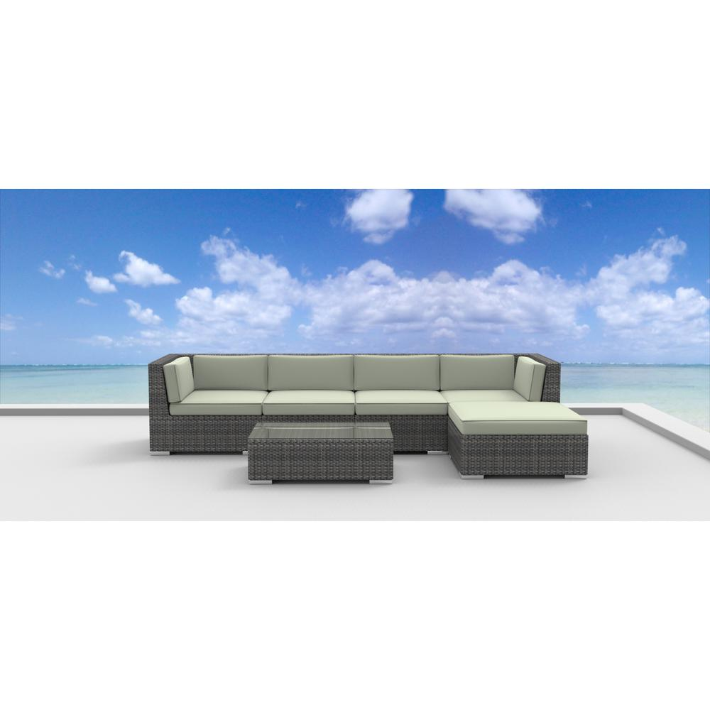 Urban Furnishing Malo 6-Piece Wicker Outdoor Sectional Seating Set with Beige Cushions