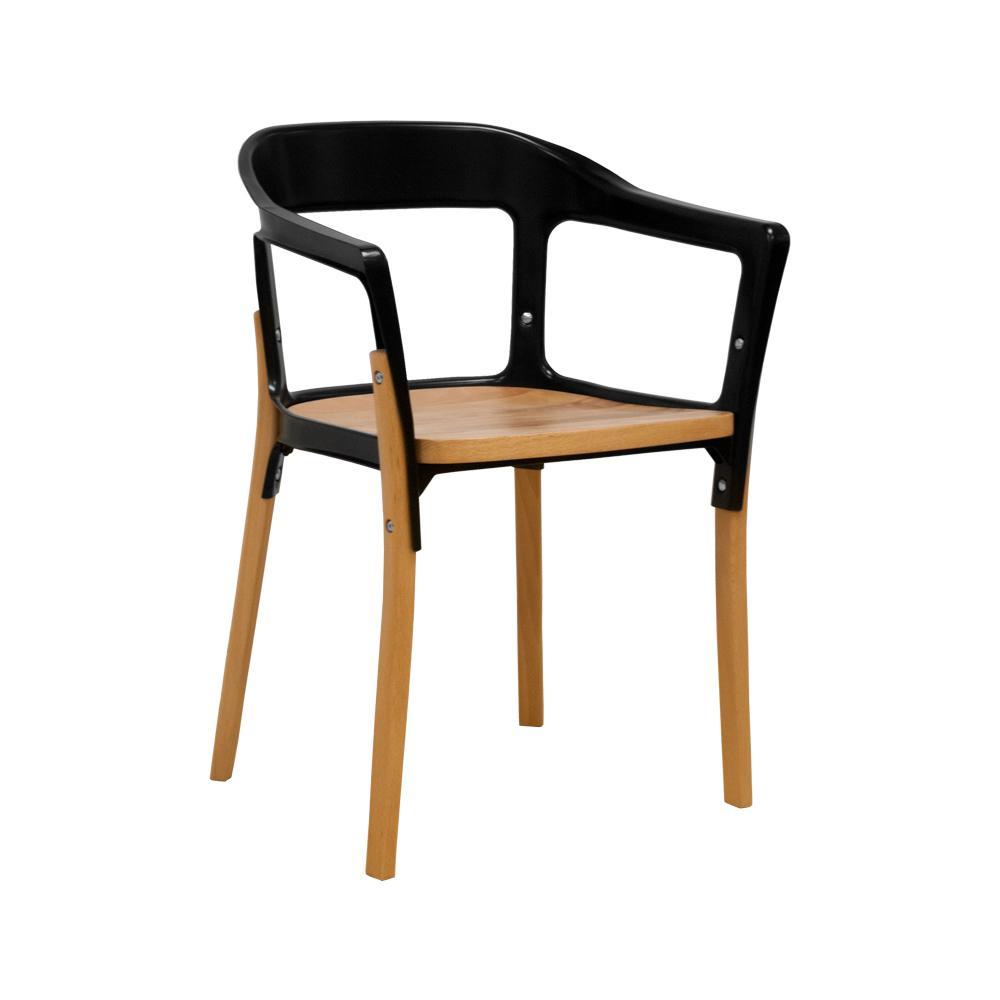 Jasper Steel and Wood Black Modern Dining Side Chair