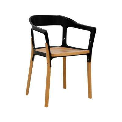 Jasper Steel and Wood Black Modern Dining Side Chair
