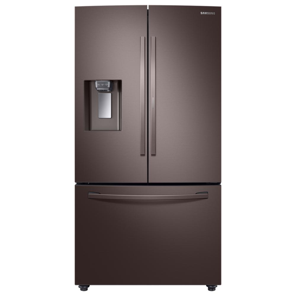 Samsung Samsung 28 cu. ft. 3-Door French Door Refrigerator in Tuscan Stainless Steel with Food Showcase Door, Fingerprint Resistant Tuscan Stainless Steel