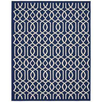 Fretwork Indigo/Ivory 8 ft. x 10 ft. Area Rug