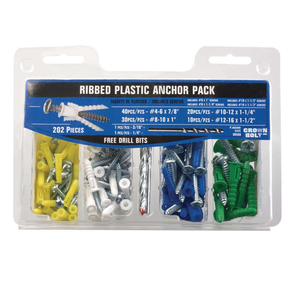 Everbilt #4-#16 x 7/8 in. x 1-1/2 in. Ribbed Plastic Anchor Pack with Screw (202-Piece)