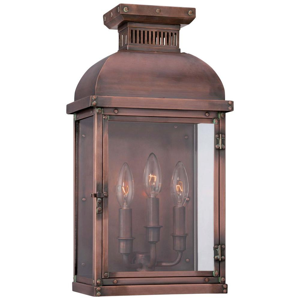 the great outdoors by Minka Lavery Copperton 3-Light Manhattan Copper Outdoor Pocket Wall Lantern Sconce