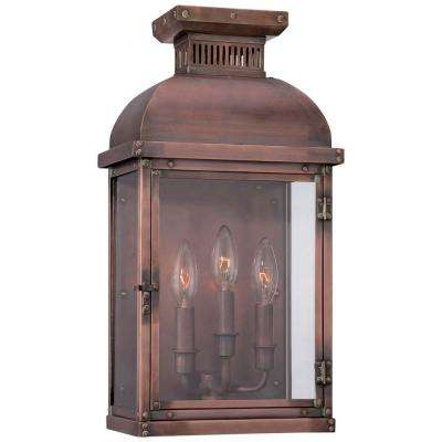 Copperton 3-Light Manhattan Copper Outdoor Pocket Wall Lantern Sconce