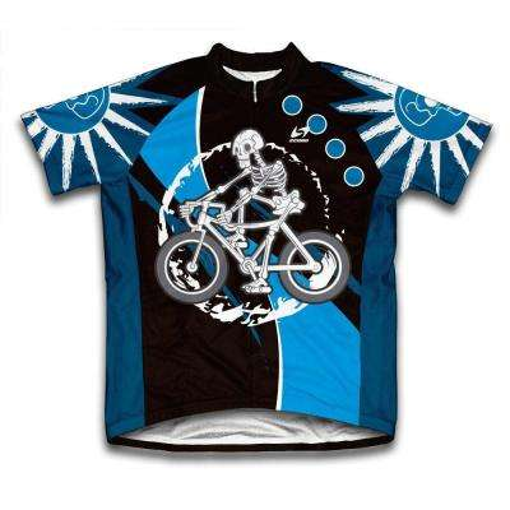 Unisex X-Large Blue Skeleton Biker Microfiber Short-Sleeved Cycling Jersey