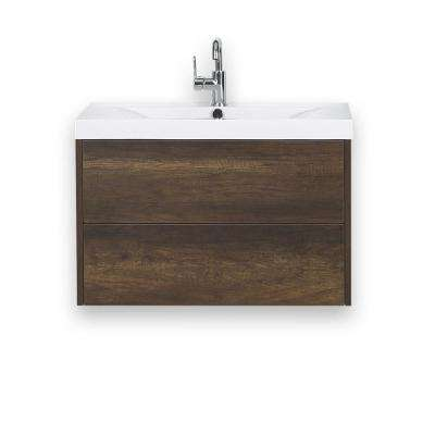 31.5 in. W x 19.4 in. H Bath Vanity in Brown with Resin Vanity Top in White with White Basin